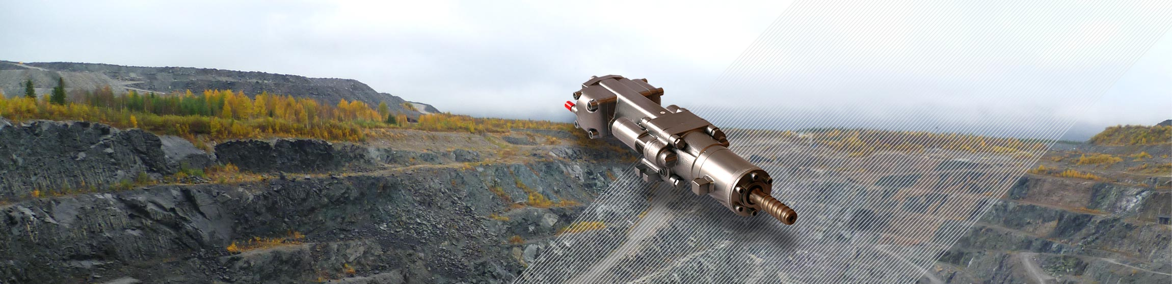 hydraulci rock drill and an open pit mine